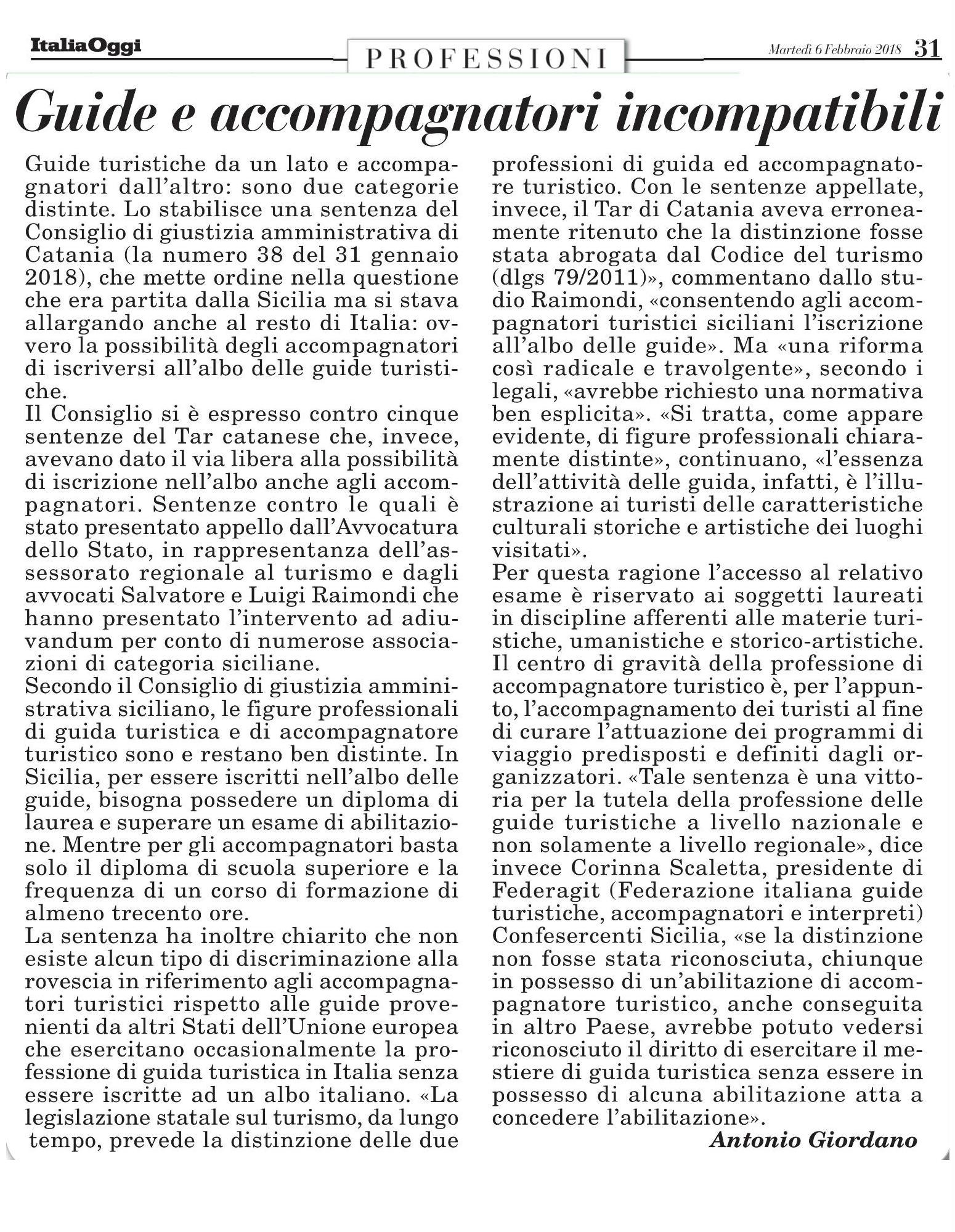 Italia Oggi 6 febbraio 2018