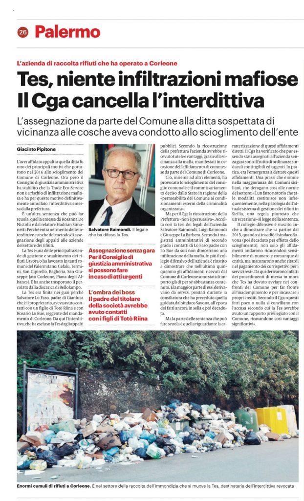 Giornale di Sicilia, 16 maggio 2019.